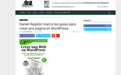 Casa de Letras se hace eco del GuíaBurros: Crear una web en wordpress, de Daniel Regidor